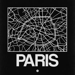 Black Map of Paris by NaxArt