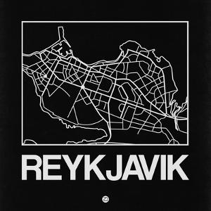 Black Map of Reykjavik by NaxArt