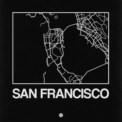 Black Map of San Francisco by NaxArt