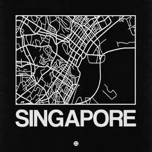 Black Map of Singapore by NaxArt