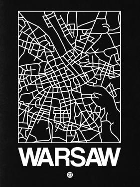 Black Map of Warsaw by NaxArt