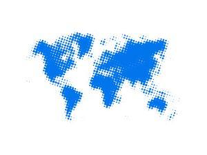 Blue Dotted World Map by NaxArt
