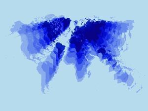 Blue Radiant World Map by NaxArt