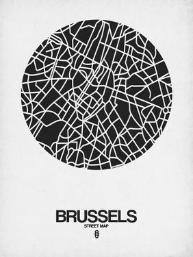 Brussels Street Map Black on White by NaxArt