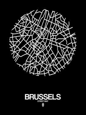 Brussels Street Map Black by NaxArt