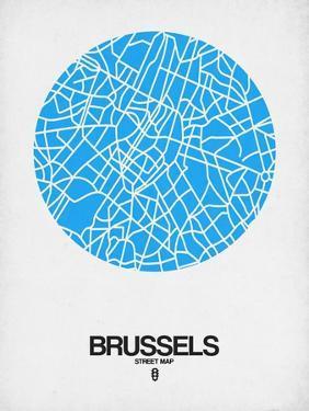Brussels Street Map Blue by NaxArt