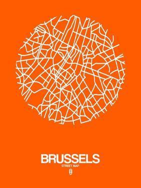 Brussels Street Map Orange by NaxArt