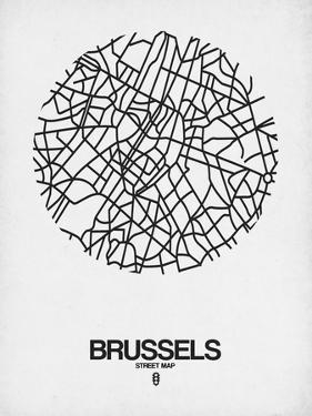 Brussels Street Map White by NaxArt