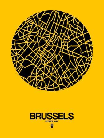 Brussels Street Map Yellow by NaxArt