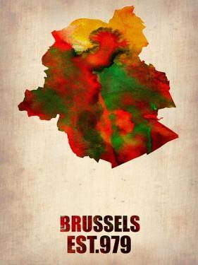Brussels Watercolor Map by NaxArt