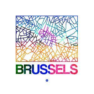 Brussels Watercolor Street Map by NaxArt