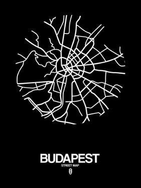 Budapest Street Map Black by NaxArt