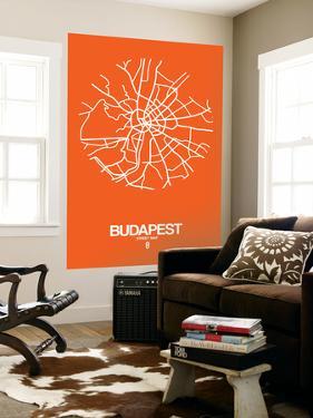 Budapest Street Map Orange by NaxArt