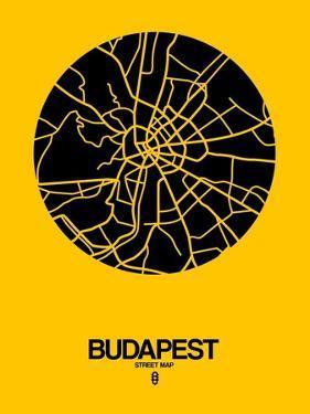 Budapest Street Map Yellow by NaxArt