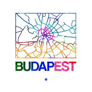Budapest Watercolor Street Map by NaxArt