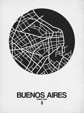 Buenos Aires Street Map Black on White by NaxArt