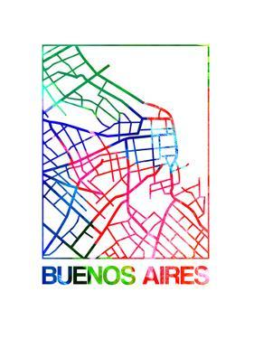 Buenos Aires Watercolor Street Map by NaxArt
