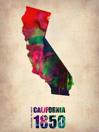 California Watercolor Map by NaxArt