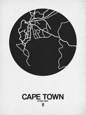Cape Town Street Map Black on White by NaxArt