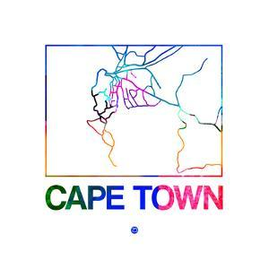 Cape Town Watercolor Street Map by NaxArt