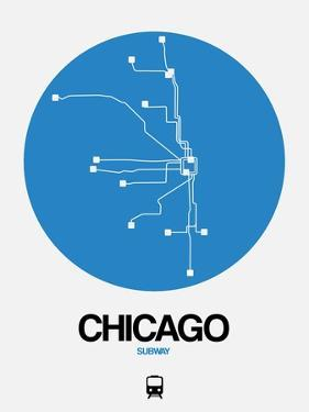 Chicago Blue Subway Map by NaxArt