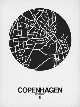 Copenhagen Street Map Black on White by NaxArt