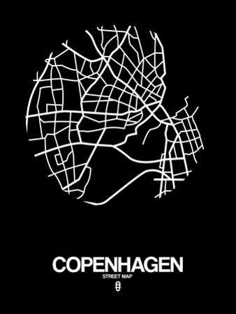 Copenhagen Street Map Black by NaxArt