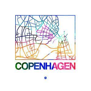 Copenhagen Watercolor Street Map by NaxArt