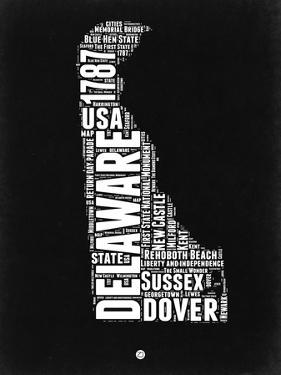 Delaware Black and White Map by NaxArt