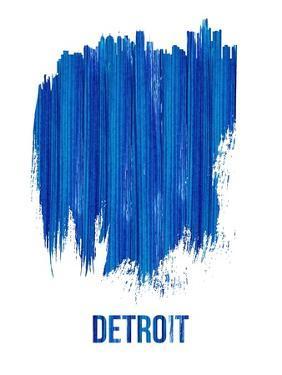 Detroit Brush Stroke Skyline - Blue by NaxArt