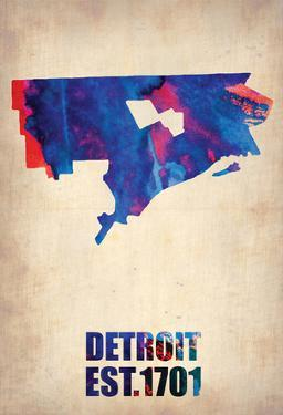 Detroit Watercolor Map by NaxArt