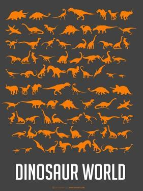 Dinosaur Poster Orange by NaxArt