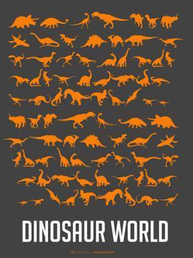 Dinosaur Poster Orange by NaxArt