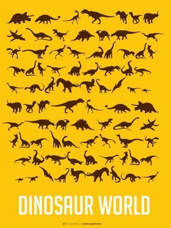 Dinosaur Poster Yellow by NaxArt