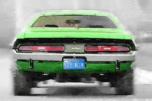 Dodge Challenger Rear Watercolor by NaxArt