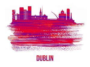 Dublin Skyline Brush Stroke - Red by NaxArt
