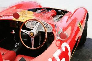 Ferrari Cockpit Monterey Watercolor by NaxArt