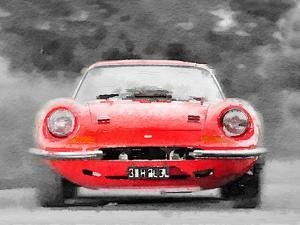 Ferrari Dino 246 GT Front Watercolor by NaxArt