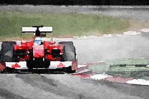 Ferrari F1 on Track Watercolor by NaxArt