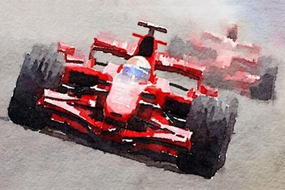 Ferrari F1 Race Watercolor by NaxArt