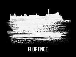 Florence Skyline Brush Stroke - White by NaxArt