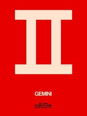 Gemini Zodiac Sign White on Red by NaxArt