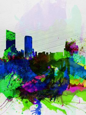 Grand Rapids Watercolor Skyline by NaxArt