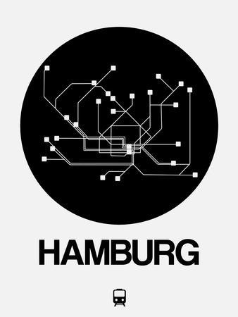 Hamburg Black Subway Map