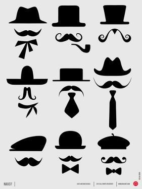 Hats and Mustaches Poster I by NaxArt