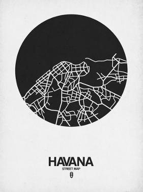 Havana Street Map Black on White by NaxArt