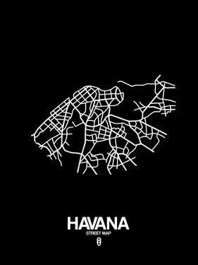 Havana Street Map Black by NaxArt