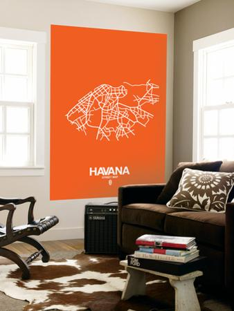 Havana Street Map Orange by NaxArt