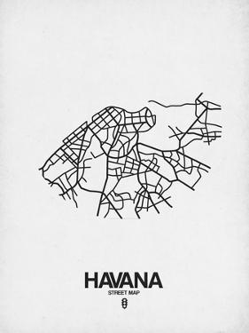 Havana Street Map White by NaxArt