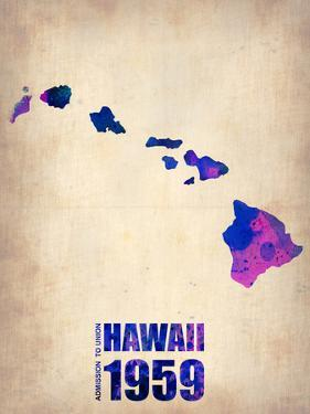 Hawaii Watercolor Map by NaxArt